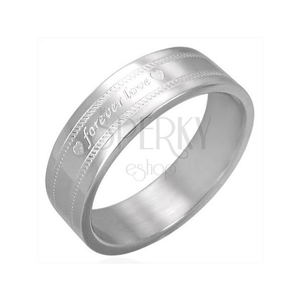 Sebészeti acél gyűrű - FOREVER LOVE gravírozás