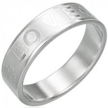 Nemesacél gyűrű - LOVE, négylevelű lóhere