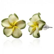 Zöld Pluméria virág - bedugós Fimo fülbevaló