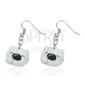 Függő Fimo fülbevaló - fehér jegesmaci