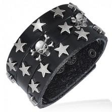 Fekete műbőr karkötő - csillagok és koponyák