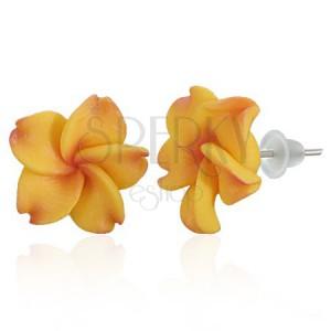Bedugós Fimo fülbevaló - grapefruit Pluméria virág