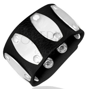 Fekete csuklópánt - sima ovális fémlapok, szegecsek