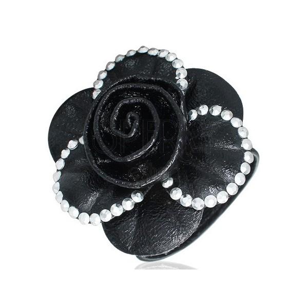 Fekete karkötő - 3D glitteres nagy fekete rózsa