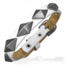 Fehér bőr karkötő - méretes 3D piramisok
