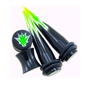 Fültágító készlet - két taper és két plug, cannabis logóval