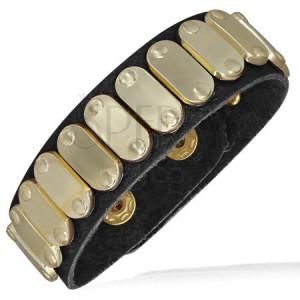 Karkötő bőrből - ovális arany lemezek, szegecsek