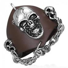 Vampír bőr karkötő - lánc és koponyák