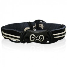 Bőr karkötő - fekete, spirál szimbólum, fonalak