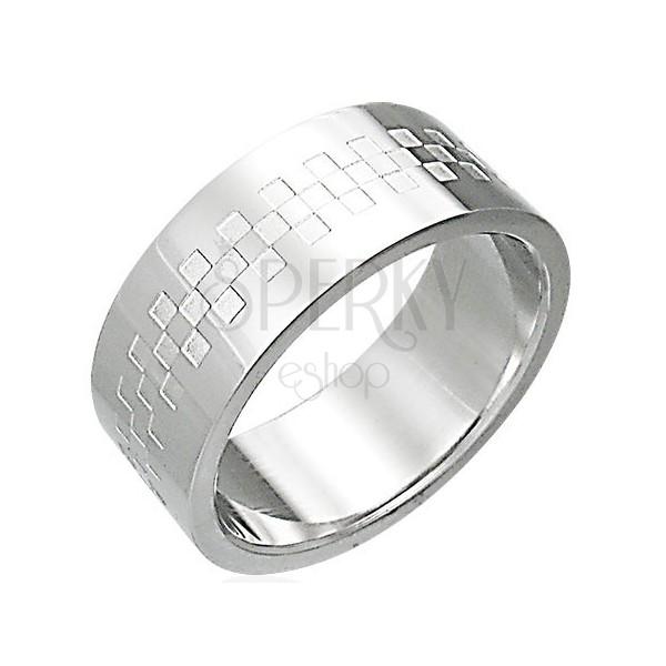 Nemesacél gyűrű, sakkminta