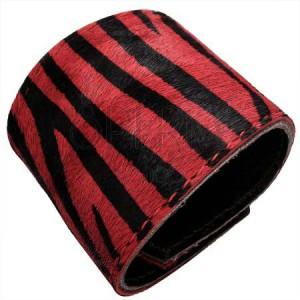 Műszőrmés karkötő - tigris minta, piros