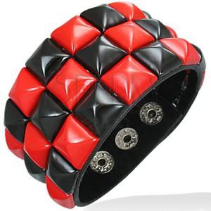 Bőr csuklópánt - fekete és piros sakktábla mintázat