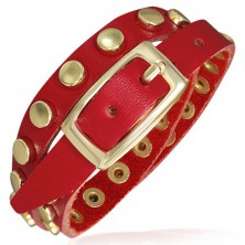Piros bőr karkötő arany szegecsekkel