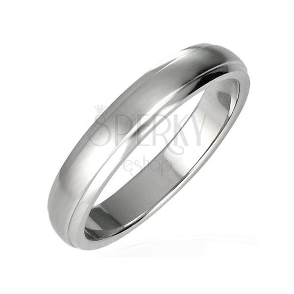 Gyűrű nemesacélból - kiemelkedő középső rész