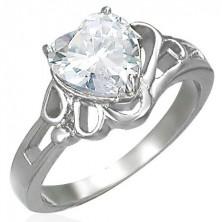Női fényes acél gyűrű, nagy átlátszó cirkóniás szív