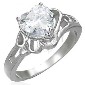 Fényes acél gyűrű, cirkóniaszív