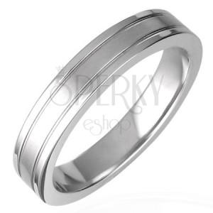Gyűrű sebészeti acélból - két bemart sáv