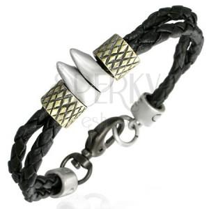 Fonott kaucsuk karkötő - két fog, arany gyűrűk
