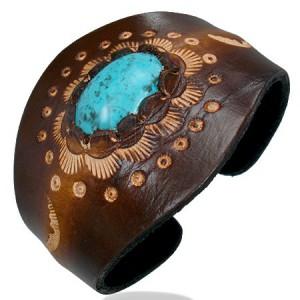 Formálható bőr karkötő - ovális türkizkék kő, ornamentumok