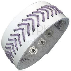 Fűzött fehér csuklópánt - lila fonalak