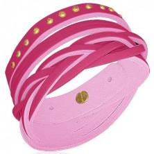 Bőr karkötő - szegecsek, fonatok, pink