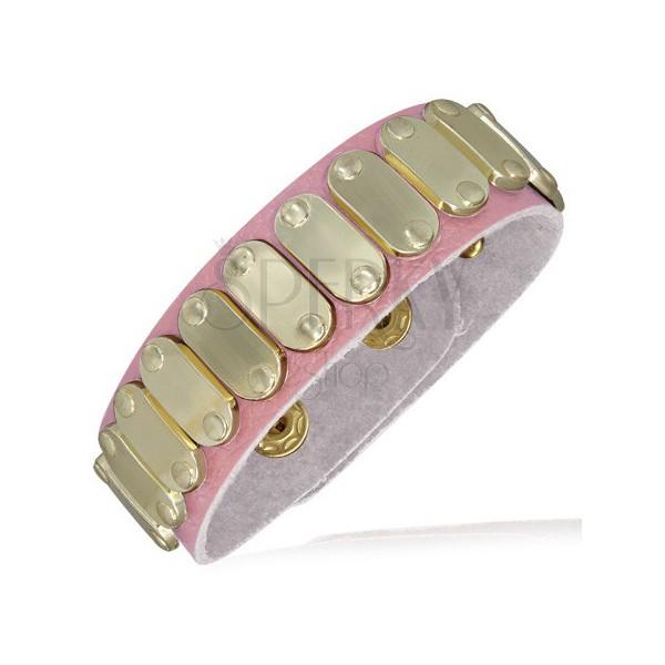 Babarózsaszín bőr karkötő - ovális arany lemezek, szegecsek