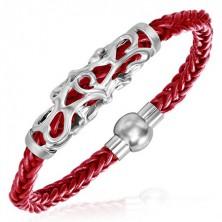 Fonott piros karkötő - acél ornamentumok