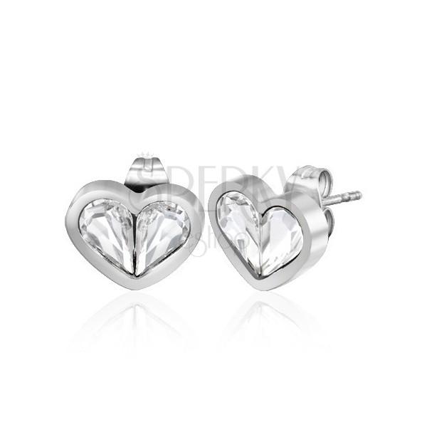 Bedugós szív fülbevaló - tiszta könnycsepp cirkóniák