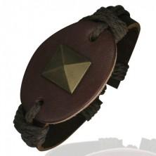 Karkötő bőrből - ovális, nagy piramis, barna