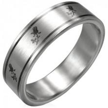 Minőségi acél gyűrű - rózsa motívumok