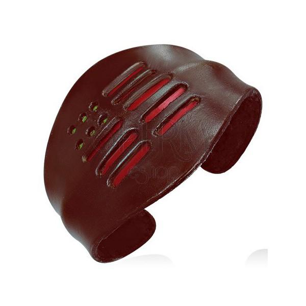 Rugalmas bőr karkötő - piros sávok, legömbölyített