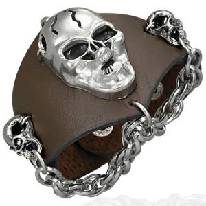 Barna bőr karkötő - vad koponyák és lánc