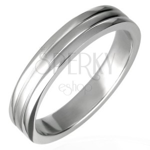 Acél gyűrű, két sáv, 6 mm széles