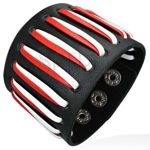 Széles fekete csuklópánt - piros és fehér műbőrszál