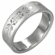 Nemesacél gyűrű - szemcsés felület, fényes ornamentumok