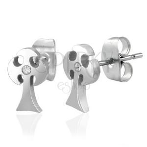Sebészeti acél fülbevaló - harci kereszt, cirkónia