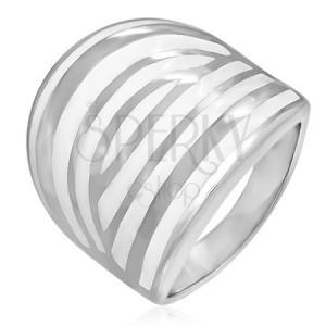 Minőségi acél gyűrű - fehér zebra csíkok, zománcozott