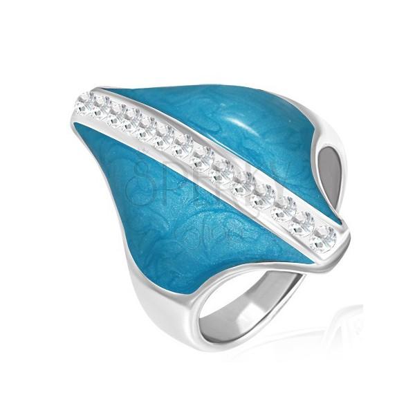 Nemesacél gyűrű - kék rombusz, cirkónia sáv