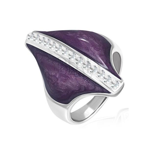 Sebészeti acél gyűrű - lila rombusz, cirkónia sáv