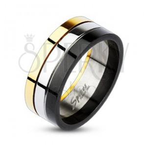 Fényes gyűrű acélból - arany, ezüst és fekete sáv