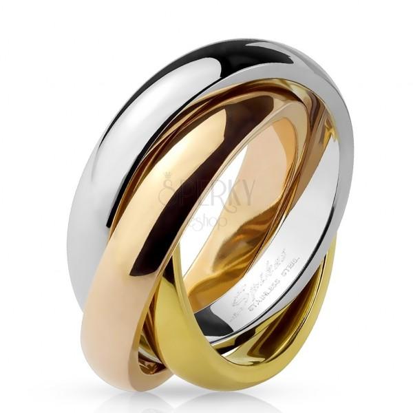 Hármas gyűrű acélból - háromszínű kombináció