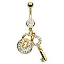 Aranyozott köldök piercing - cirkónia köves kulcs és lakat