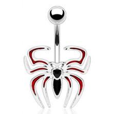 Köldök piercing, fekete - piros pók