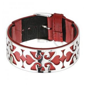 Piros - ezüst színű karkötő, kivágott minta