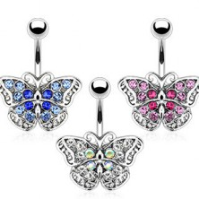 Köldök ékszer - cirkónia pillangó