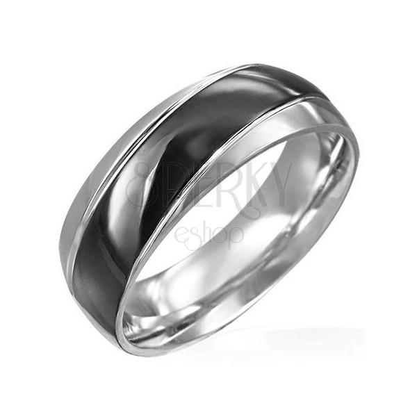 Széles acél gyűrű - ferde fekete sáv