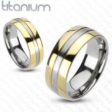 Titánium gyűrű - arany és ezüst színkombináció