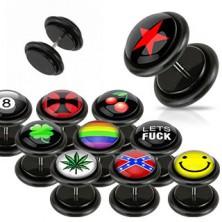 Fekete hamis fülpiercing - különböző logók, gumik