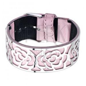 Rózsaszín karperec, acél dísz, kivágások - rózsa