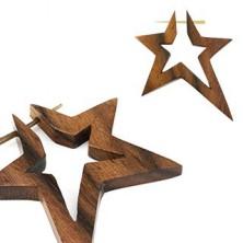 Fül plug fából - csillag, egy pár
